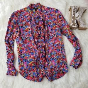 J.CREW Longsleeves Buttondown Floral Silk Blouse